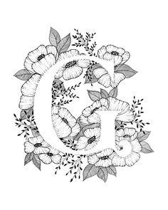 Letter G print alfabet kalligrafie typografie Monogram