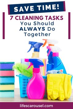 ] 7 Cleaning Tasks to ALWAYS do together to save time! Have a cleaner home in less time with these cleaning pairs. Do these chores together for quick cleaning and a tidier home. Safe Cleaning Products, Cleaning Toys, House Cleaning Tips, Spring Cleaning, Cleaning Hacks, Cleaning Schedules, Cleaning Lists, Cleaning Checklist, Cleaning Supplies