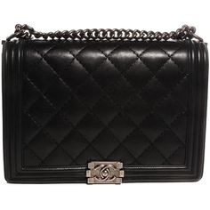 CHANEL Calfskin Quilted Large Boy Flap Black ❤ liked on Polyvore featuring bags, handbags, shoulder bags, flap shoulder bag, chain strap purse, black purse, chain shoulder bag and black quilted handbag