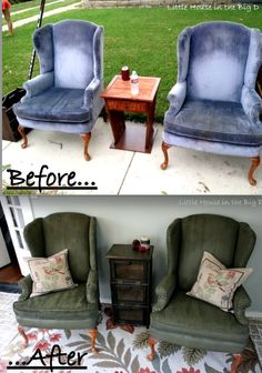 Painted fabric chairs?!?!  I had no idea you could paint fabric... cant wait to try!