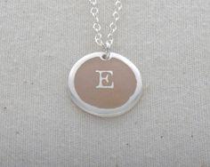 E Initial Necklace Glass Enamel On Fine Silver by FusedInc on Etsy, $42.00 (23 colors) #jewelry #enamel #necklace