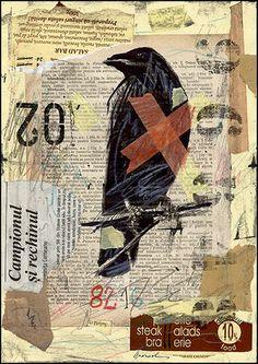 Sale Original Abstract Art Collage Art Mixed Media Crow Signed Mirel E Ologeanu | eBay $24