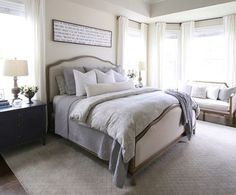 Neutral Master Bedroom. Neutral Master Bedroom. Neutral Master Bedroom. Wanting an inviting space, we opted for neutral colors accented in deep grays and blues, giving the room a masculine yet feminine charm. Neutral Master Bedroom. Neutral Master Bedroom #NeutralMasterBedroom Home Bunch's Beautiful Homes of Instagram @cambridgehomecompany