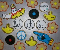 Beatles Yellow Submarine White Album decorated cookies