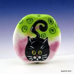 """PROUD MARY"" byKAYO a Handmade SWEET CAT Lampwork Art Glass Focal Bead SRA #Lampwork"