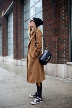 Women fashion style outfit clothing brown coat sunglasses shoulder bag sneakers pants