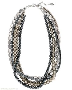 Grey and silver multi strand beaded necklace