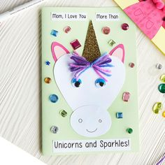 """Help the little ones make this Kids Club® """"Unicorns and Sparkles"""" Mother's Day Card"""