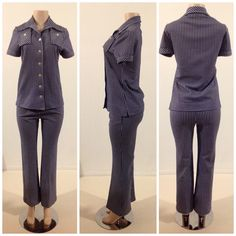 True Vintage  Navy And White Checkered Board 2P Pants/ Shirt OutFit Pantsuit by RozzCloset on Etsy