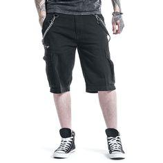 """#Pantaloncini lunghi al ginocchio neri """"Ray Chain Shorts"""" della collezione #BlackPremiumbyEMP taglio casual con catene laterali. Apribottiglie Rockhand in omaggio."""