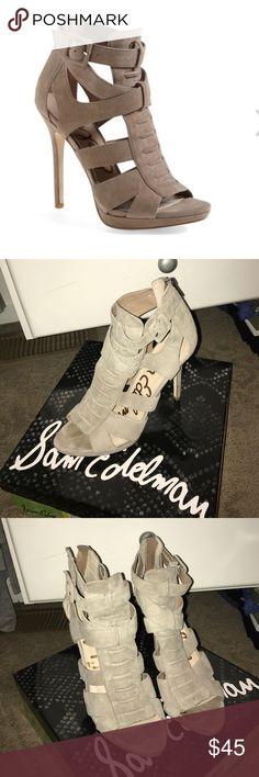 Sam Edelman Suede Sandal Sam Edelman Emlyn Sandal. Putty Suede. Size 8.5. 4.5 inch heel, zip up back, open toe. Sam Edelman Shoes
