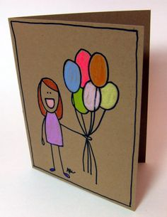 Birthday card hand drawn girl with balloons by BriggleSticks, $3.50