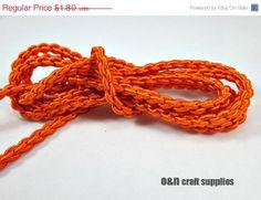SALE 20 Satin chain braided silk cord orange 1meter by OandN, $1.44 #craftcord #rope #stringingmaterials #jewelrysupplies