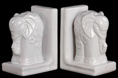 Features:  -Set includes 2 bookends.  Product Type: -Decorative.  Style: -Tropical/Nautical.  Subject: -Wild animals.  Theme: -Animals.  Primary Material: -Ceramic.  Life Stage: -Adult.  Number of Boo