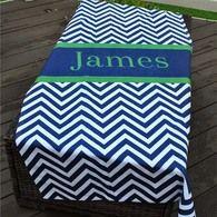 Beach Towel - Chevron Navy Stripe Print