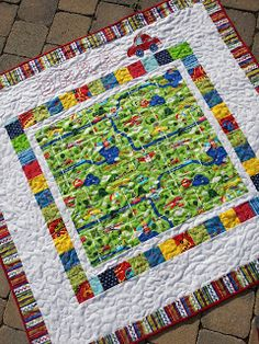 Personalized Boy Quilt Primary Colors, Cars, Planes, Map Picnic Blanket, Outdoor Blanket, Boy Quilts, Primary Colors, Planes, Stitching, Crafts For Kids, About Me Blog, Map