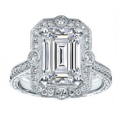 Engagement Ring - Emerald Cut Diamond Halo Vintage Engraved Engagement... ($2,150) ❤ liked on Polyvore
