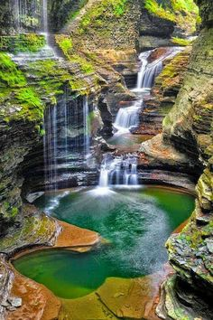 Rainbow Falls by Guy Schmickle Rainbow Falls (left) rains down into Glen Creek at Watkins Glen State Park, New York. Rainbow Falls by Guy Schmickle Rainbow Falls (left) rains down into Glen Creek at Watkins Glen State Park, New York. Beautiful Waterfalls, Beautiful Landscapes, Vacation Ideas, Vacation Spots, State Parks, Places To Travel, Places To See, Watkins Glen State Park, Rainbow Falls