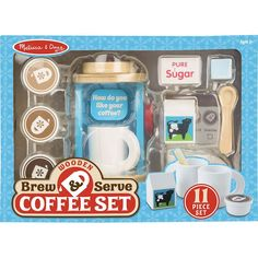 Pretend-play tea parties can now include coffee with this realistic wooden Brew & Serve Coffee Set for two! Lift the lid and pop in one of three coffee pods (regular, hazelnut, or mocha) and turn the Moka, Lego Sets, Play Kitchen Accessories, Doll Accessories, Opening A Coffee Shop, Cafetiere, Melissa & Doug, Coffee Pods, Coffee Beans