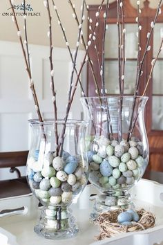 Make this easy spring pussy willow centerpiece with faux eggs in just a few minutes! Perfect for early spring and Easter celebrations. Easter party Easy Spring Pussy Willow Centerpiece Idea - On Sutton Place Easter Table Decorations, Easter Decor, Easter Centerpiece, Spring Decorations, Easter Food, Easter Ideas, Easter Celebration, Hoppy Easter, Easter Bunny