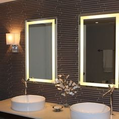 Light up mirrors + cool tile wall