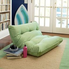 Single Flip Floor Lounger #pbteen; only available in white and navy
