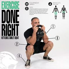 Goblet Squat Infographic Practice good technique to properly exercise glutes and quads during kettlebell goblet squats.Practice good technique to properly exercise glutes and quads during kettlebell goblet squats. Kettlebell Training, Kettlebell Core Workout, Best Kettlebell Exercises, Kettlebell Deadlift, Kettlebell Benefits, Kettlebell Challenge, Workout Challenge, Fitness Herausforderungen, Shoulder Workout