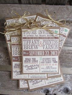 Vintage Typography Custom Designed Theater Wedding Invitation Set