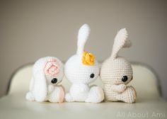 Crochet your own sweet bunny with this simple crochet pattern which is great for beginners! This pattern contains clearly explained instructions and pictures to help you crochet this amigurumi bunny which you can make floppy-eared or with ears standing straight up! Crochet a carrot or flower as well to complete their look!The pattern is written in US crochet terminology.