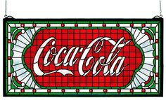The Coca-Cola Victorian Web White stained glass will make a stunning addition to any decor. Natural variations in art glass make this item a unique, handcrafted treasure for the home or office. Photog