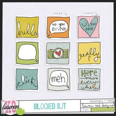Blocked Out freebie stickers from Lauren Reid Designs #digiscrap #scrapbooking