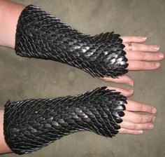Scalemail Armor Dragonhide Knitted Gauntlets made to order. $119.00, via Etsy.