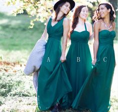 3aca9751781 Teal Green Cheap Simple Mismatched Chiffon Floor-Length Long Bridesmai – Wish  Gown Teal Green