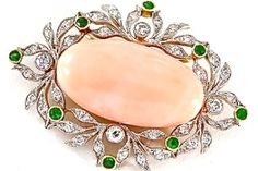 Peau d'ange coral and diamond brooch, Shreve & Co. circa 1910