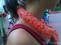 Gel neck coolers.  Perfect for hot days.  This saved me in Italy when it was 105 degrees.  Will be making these!
