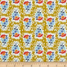 Anna Maria Horner Honor Roll Hand Picked Prairie from @fabricdotcom  Designed by Anna Maria Horner for Free Spirit, this cotton print fabric is perfect for quilts, home décor accents, craft projects and apparel. Colors include red, gold, blue, turquoise and pale grey.