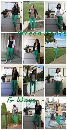 Stylish Work Outfits, Classy Outfits, Pretty Outfits, Casual Outfits, Fashion Outfits, Green Pants Fashion, Kelly Green Pants, Green Sweater Outfit, Blazers