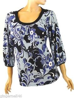 ING Plus Size 1X Tunic Top Blues Floral Print Made in America free shipping