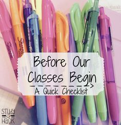Checklist before classes