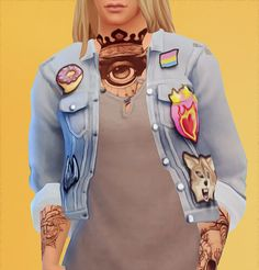 Acc jacket with patches recolour for The Sims 4