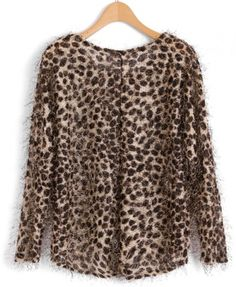 Furry Leopard Print Sweater with Dip Hem