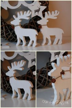 rennes Christmas Ornaments To Make, Christmas Makes, Noel Christmas, Christmas Projects, Wooden Crafts, Diy And Crafts, Animal Cutouts, Felt Animal Patterns, Scroll Saw Patterns