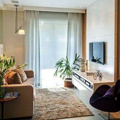 Arquitetas Elise e Evelyn Drummond. Home sala room _ Amei. Small Living Rooms, Home Living Room, Apartment Living, Living Room Decor, Tiny Living, Living Area, Small Apartments, Small Spaces, Decoration Design