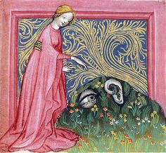 """British Library, Egerton 1121, detail of f. 38. Ulrich von Pottenstein, Spiegel der Weisheit. Salzburg, c.1430. """"…a miniature of the Human ear complaining to a personification of Nature that she has given him no such protection as the eye was given with the eyebrows."""""""