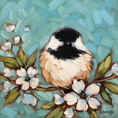 "Chickadee painting, Original oil painting of a Chickadee on a floral branch, 6x6"" on panel, Chickadees, bird art, *Pre-Order by LaveryART on Etsy"