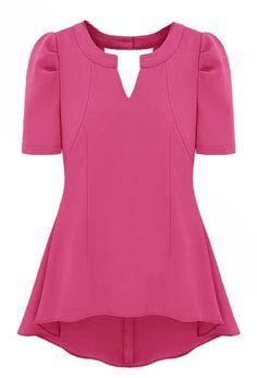 Rose Red V Neck Short Sleeve Back Hollow Ruffles Dress - Sheinside.com