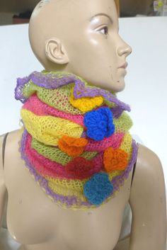 COLLAR HANDMADE  SCARF CAPELET HEAD + NECK WARMER CROCHETED  GIFT MULTI COLOR | Clothing, Shoes & Accessories, Women's Accessories, Scarves & Wraps | eBay!