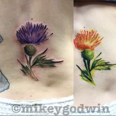 Watercolor thistle tattoo by Mikey Godwin