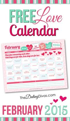 A printable couples calendar with a flirty romance tip for every day. Perfect for the month of LOVE!