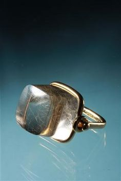 Ring  Designed by Torun Bülow-Hübe, Sweden. 1960's.  18 ct gold and striated quartz.